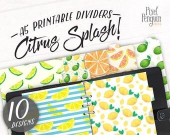 Printable Dividers for Planner, Lemon Filofax A5 Dividers, Watercolor Planner Dashboard Printable, Kikki K Dividers, A5 Tabbed Dividers