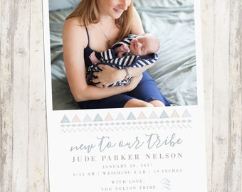 Photo Birth Announcement, Tribal, New Baby, Baby Girl, Baby Boy, Newborn, Custom Photo Card, Announcement, Printable Birth Announcement