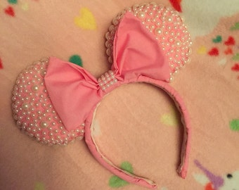 Minnie Mouse Ears, Pink Pearls