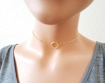 Circle Necklace, KARMA necklace, Open Circle Chain Choker, Halo Choker Necklace, Ring Necklace