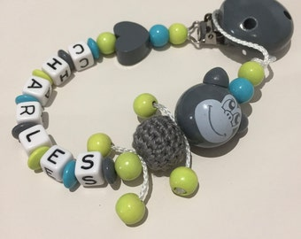 Personalized pacifier name of baby boy with wooden beads