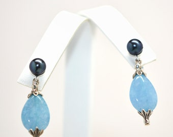 Malaysian Blue Jade and Black Pearl Earring