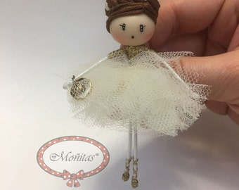 Brooch doll Ballerina Snow Jewelry
