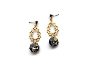 Drop dangle earrings - Black crystal earrings - Geometric earrings 2