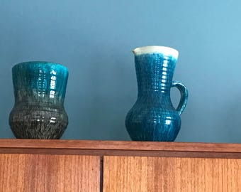 VASE and pitcher 1950 ACCOLAY 'blue period' vintage