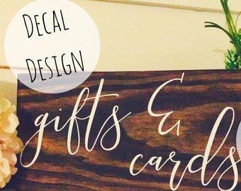 Gifts and Cards Sign, DECAL, Gifts and cards elegant wedding signs DECAL, Diy wedding signs