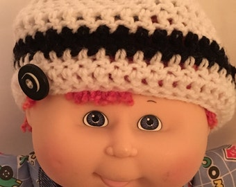 Black and white newborn boys crochet hat