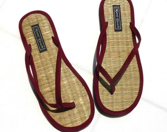 Flip-Flops of rice straw with thong burgundy velvet (4.5-9.5)