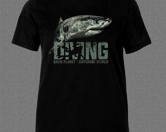 Scuba Diver Shark Fish Diving Ocean T-shirt
