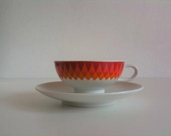 Pretty tea cups, orange, white, Bavaria Schumann, Arzberg, Germany, 70s, vintage