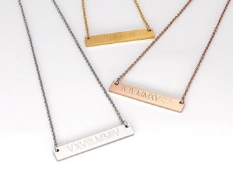 Roman Numeral Necklace Wedding Date Necklace Personalized Date Necklace Special Date Necklace Bridesmaid Gift Rose Gold Bar Necklace Silver
