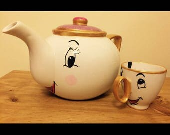 Beauty & The Beast Mrs Potts Teapot and Chip Cup Tea Set-Hand Painted . Tea Set Gift