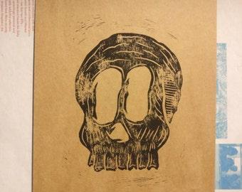 Skull Lino Print - Black