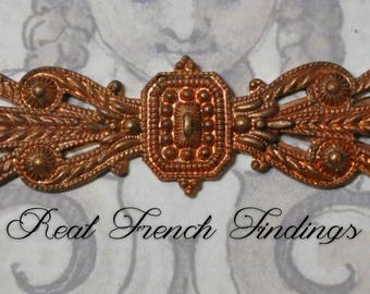 Vintage French Bar Pin Finding Gold Bullion Style Thick Raw Brass Die Casting 1 Piece 442J