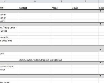 Wedding Planning Spreadsheet