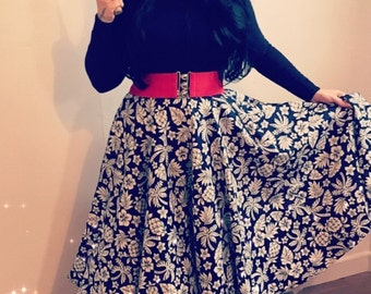 Tiki Print Full Circle Skirt in Navy and Cream - Size 12