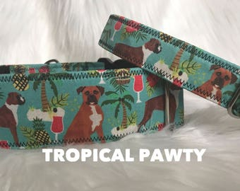Tropical PAWty: boxer dog collar, pineapple, palm tree
