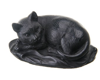 Decorative Stone Statue / Figurine Lying Cat 10cm (3.9'') black