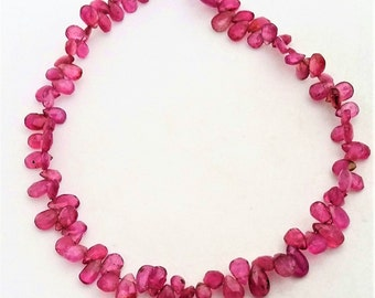 """Natural Pink TOURMALINE faceted pear shaped beads ,3x5 mm -- 4x7 mm ,9""""strand[E0295]"""
