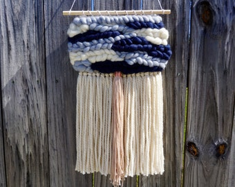 Navy + Steel Blue Woven Wall Hanging