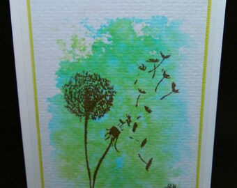 Watercolour Card - Birthday Card - Mother's Day Card - Flower Card - Sympathy Card - Dandelion Card - Handmade Card - Free UK P&P!