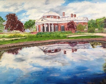 "Limited, Signed and Numbered print ""Monticello"" featuring Thomas Jefferson's architectural masterpiece, viewed from the reflecting pool."
