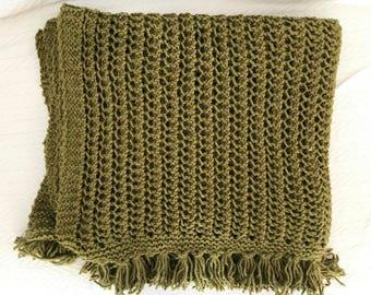 ON SALE Handknitted Wool Alpaca Green Throw Rug Lap Blanket Afghan with Fringe