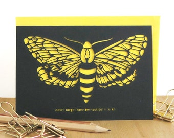 Birthday bee card, Bee papercut card, Bumble bee card, Encouragement card