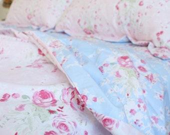 Blue Pink Rose Cottage French Shabby Egyption Cotton Duvet Cover Sheet Set Bedding