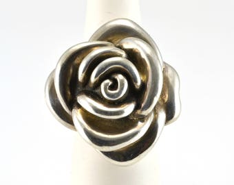 Flower Ring, Statement Ring, Size 6, Sterling Silver, Vintage Ring