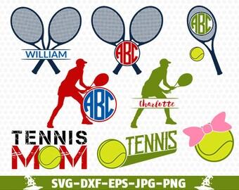 Tennis SVG Tennis Monogram Svg Tennis Racket and Ball SVG  Tennis svg Cut Files svg dxf eps png jpg Tennis Mom SVG