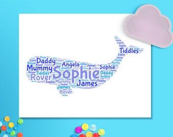 Word Cloud Whale personalised, printable childs nursery wall art, whale word art pinks or blues, nursery decor whale print, digital download