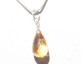 Facetted Citrine Sterling Silver Wrapped Pendant