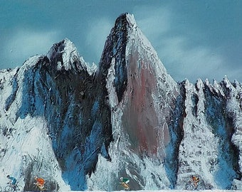 Peloton Aiguille du Dru. Original oil painting on deep-edged canvas. 31 x 81cm. Varnished & signed by the artist.