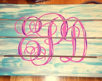 Hand Painted Initial Monogram Wood Sign
