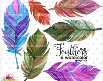 75%OFF - Feather Clipart, Feather Graphic, COMMERCIAL USE, Kawaii Clipart, Watercolor Feathers, Digital Feathers, Planner Accessories