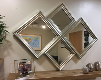"EXCLUSIVE""The Grimsargh"" Silver Diamond Wall Mirror 115 X 86 CM"