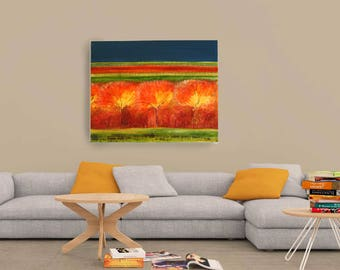 Modern art representation. Original acrylic painting. Great picture for Salon. Artistic design with trees. Wood wall decor home.