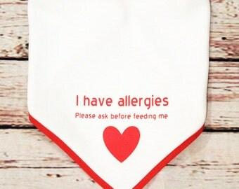 allergy awarness bandana bib