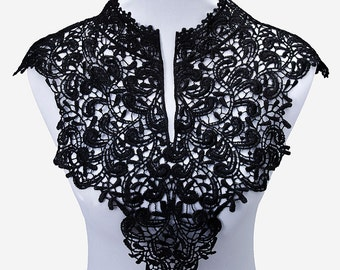 Black & White Embroidery Lace Neckline Fabric