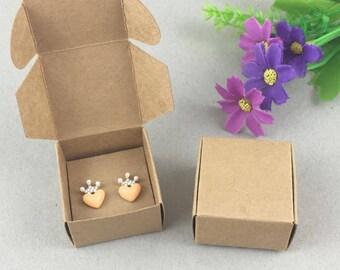 100 Pcs Blank Kraft Jewelry Boxes