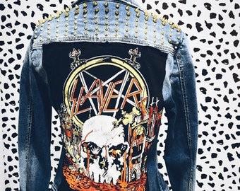Slayer (World Sacrifice Tour 1984) Studded Denim Battle Jacket - Studded Jacket, Vest, Band Vest, Repurposed, Vintage Inspired, Backpatch