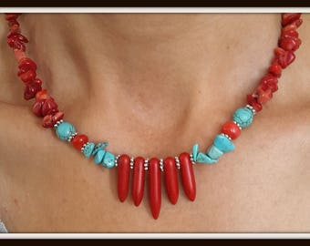 coral, coral necklace,korallenkette, turquoise necklace, coral and turquoise necklace, stylish necklace,  rod and broken coral
