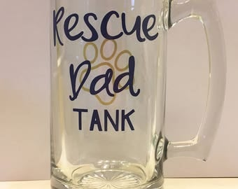 Rescue Mom or Dad, Dog or Cat Personalized Beer Mug, Paw Print, Shelter Dogs, Rescue Dogs, Animal Rescue