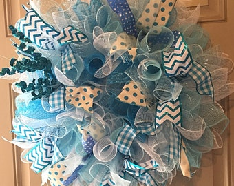 Blue and White Deco Mesh Wreath with Ribbon