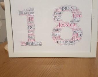 A4 framed number word print