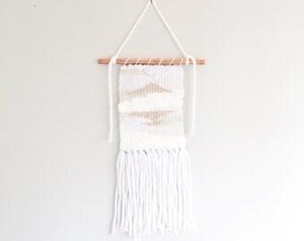 "Small White + Blush Woven Wall Hanging // 8""x17"""
