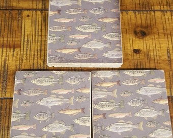 Set of 4 travertine tile coasters Fish design