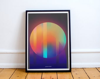 Retro Abstract Geometry Printed Graphic Design Poster Art, City Love