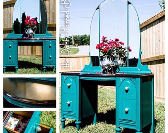SOLD EXAMPLE....Painted furniture, painted vanity, shabby chic vanity, vintage furniture, shabby chic furniture, makeup vanity, custom order